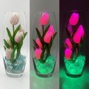 Светильник-цветы LED Grace (розовые тюльпаны, зелёная подсветка), USB