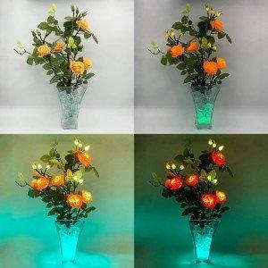 Светильник-цветы LED Dream (жёлто-красные розы, зелёная подсветка), USB