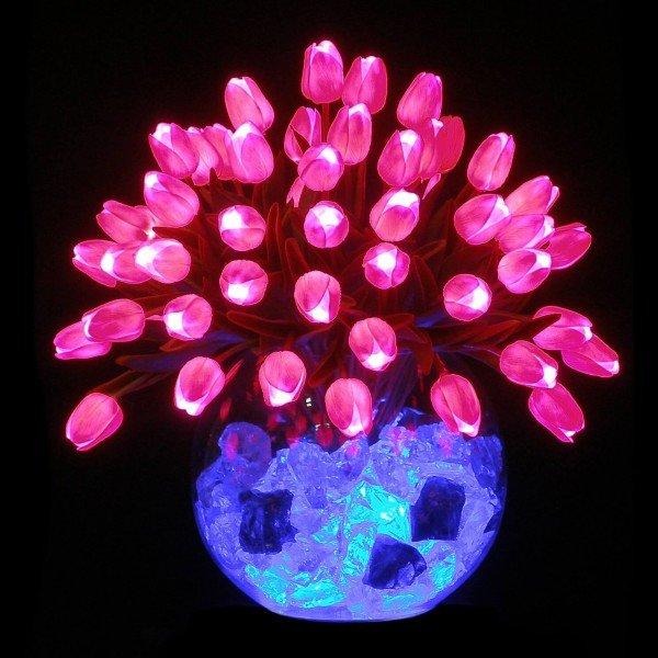 Светильник-цветы LED Delight (розовые тюльпаны, синяя подсветка), USB
