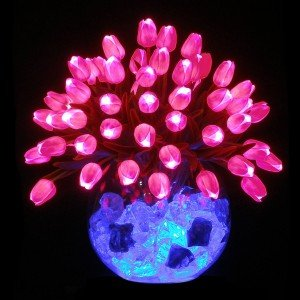 Светильник Светодиодные цветы LED Delight, розовые тюльпаны с синей подсветкой вазы