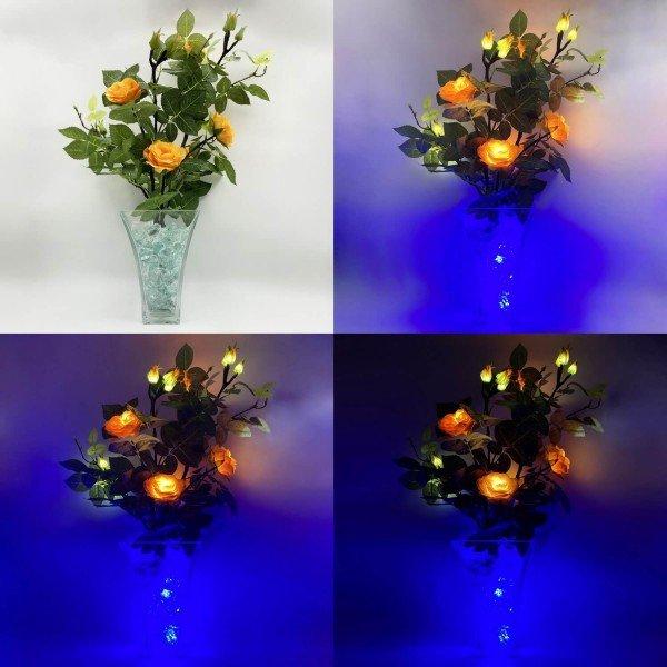 Светильник-цветы LED Dream (жёлтые розы, синяя подсветка), USB
