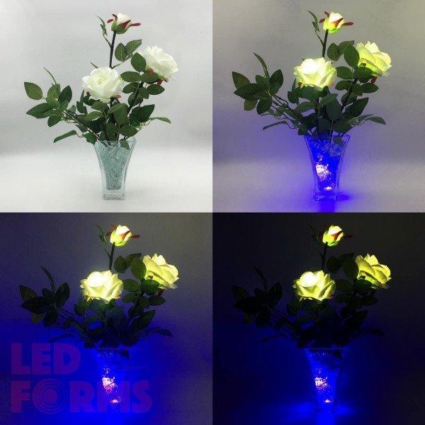 Светильник-цветы LED Nova (белые розы, синяя подсветка), USB