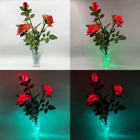 Светильник-цветы LED Nova (жёлто-красные розы, зелёная подсветка), USB
