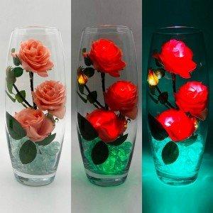 Светильник-цветы LED Harmony (розовые розы, зелёная подсветка), USB
