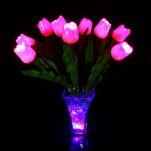 Светильник-ночник Светодиодные цветы LED Candy, розовые тюльпаны с розово-синей подсветкой вазы