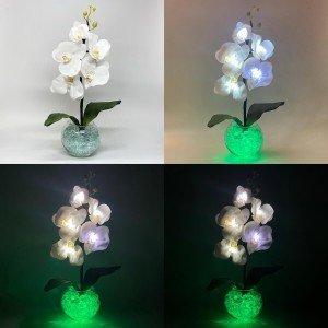 Светильник-ночник Светодиодные цветы LED Provocation, белые орхидеи с зелёной подсветкой вазы