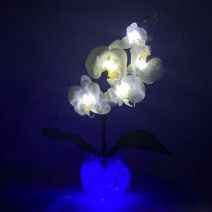 Светильник-цветы LED Provocation (белые орхидеи, синяя подсветка), USB