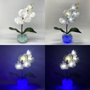 Светильник-ночник Светодиодные цветы LED Provocation, белые орхидеи с синей подсветкой вазы