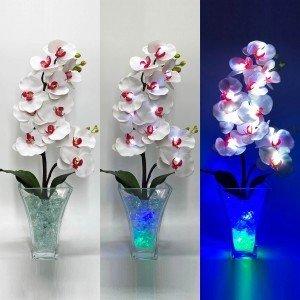 Светильник Светодиодные цветы LED Inspiration, белые орхидеи с сине-зелёной подсветкой вазы