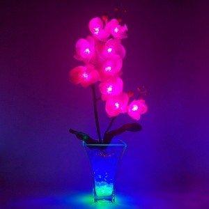 Светильник-цветы LED Inspiration (розовые орхидеи, сине-зелёная подсветка), USB