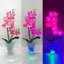 Светильник Светодиодные цветы LED Inspiration, розовые орхидеи с сине-зелёной подсветкой вазы