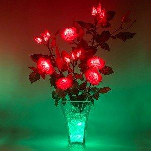 Светильник-цветы LED Dream (красные розы, зелёная подсветка), USB