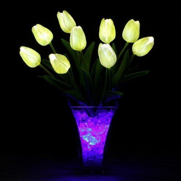 Светильник-цветы LED Joy (белые тюльпаны, синяя подсветка), USB