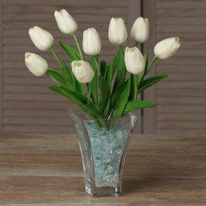 Светильник Светодиодные цветы LED JOY, белые тюльпаны с синей подсветкой вазы — Купить в интернет-магазине LED Forms