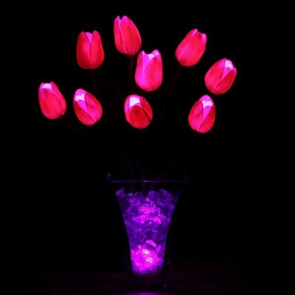 Светильник-цветы LED Joy (розовые тюльпаны, синяя подсветка), USB