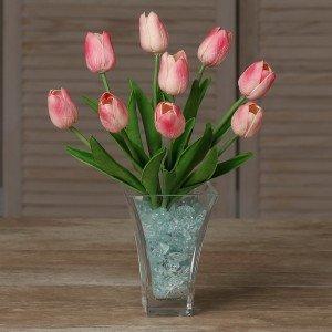 Светильник Светодиодные цветы LED JOY, розовые тюльпаны с синей подсветкой вазы — Купить в интернет-магазине LED Forms