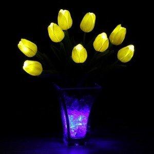 Светодиодные цветы LED Joy, светильник-ночник, жёлтые тюльпаны + синяя подсветка, USB, 220V
