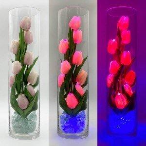 Светильник Светодиодные цветы LED Spirit, розовые тюльпаны с синей подсветкой вазы