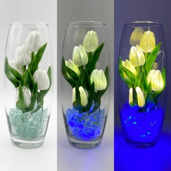 Светильник-цветы LED Grace (белые тюльпаны, синяя подсветка), USB
