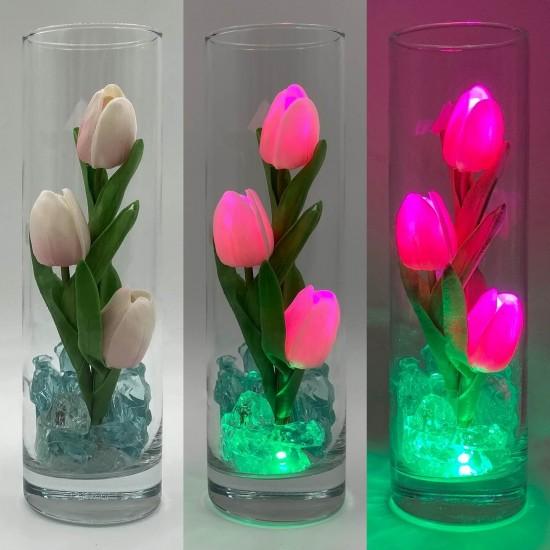 Светильник-цветы LED Florarium (розовые тюльпаны, зелёная подсветка), USB