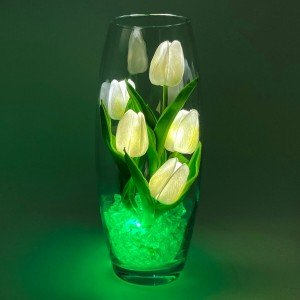 Светильник-цветы LED Grace (белые тюльпаны, зелёная подсветка), USB