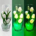Светильник-ночник Светодиодные цветы LED Grace, белые тюльпаны с зелёной подсветкой вазы