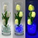 Ночник Светодиодные цветы LED Florarium, белые тюльпаны с синей подсветкой вазы