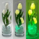 Ночник Светодиодные цветы LED Florarium, белые тюльпаны с зелёной подсветкой вазы
