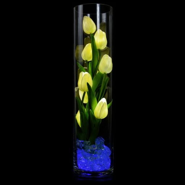 Светильник-цветы LED Spirit (белые тюльпаны, синяя подсветка), USB