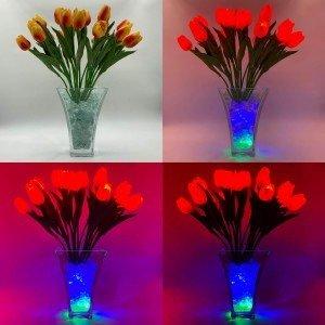 Светильник Светодиодные цветы LED Spring, оранжевые тюльпаны с сине-зелёной подсветкой вазы