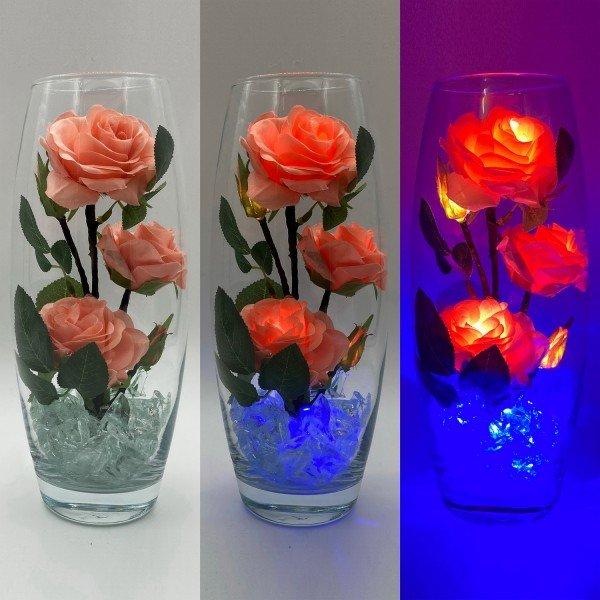 Светодиодные цветы LED Harmony, светильник-ночник, розовые розы + синяя подсветка, USB, 220V