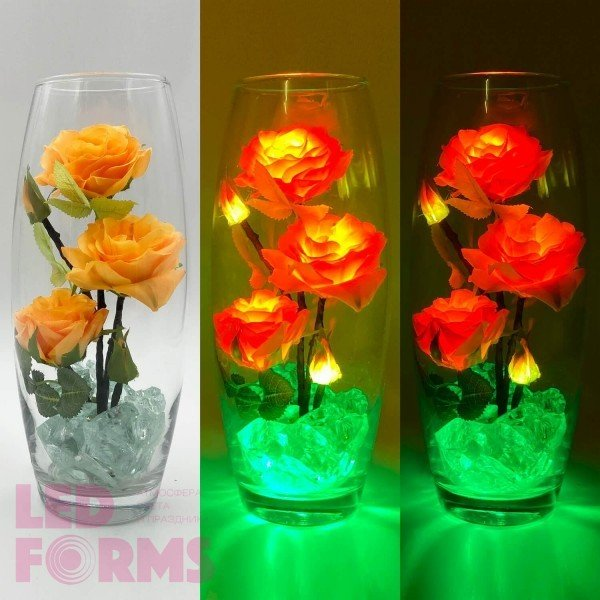 Светодиодные цветы LED Harmony, светильник-ночник, жёлтые розы + зелёная подсветка, USB, 220V