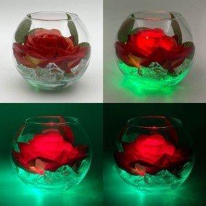 Ночник Светодиодные цветы LED Secret, красная роза с зелёной подсветкой вазы