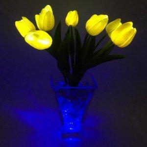 Светильник Светодиодные цветы LED JOY, жёлтые тюльпаны с синей подсветкой вазы — Купить в интернет-магазине LED Forms