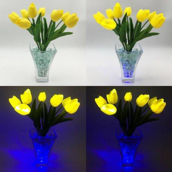 Светильник-цветы LED Joy (жёлтые тюльпаны, синяя подсветка), USB