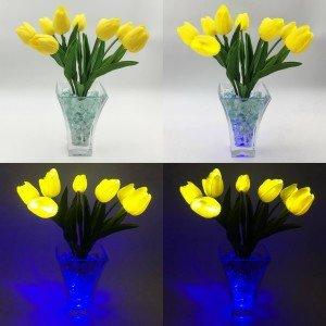 Светильник Светодиодные цветы LED Joy, жёлтые тюльпаны с синей подсветкой вазы