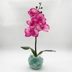 Светильник-ночник Светодиодные цветы LED Provocation, малиновые орхидеи с синей подсветкой вазы