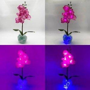 Светильник-цветы LED Provocation (малиновые орхидеи, синяя подсветка), USB