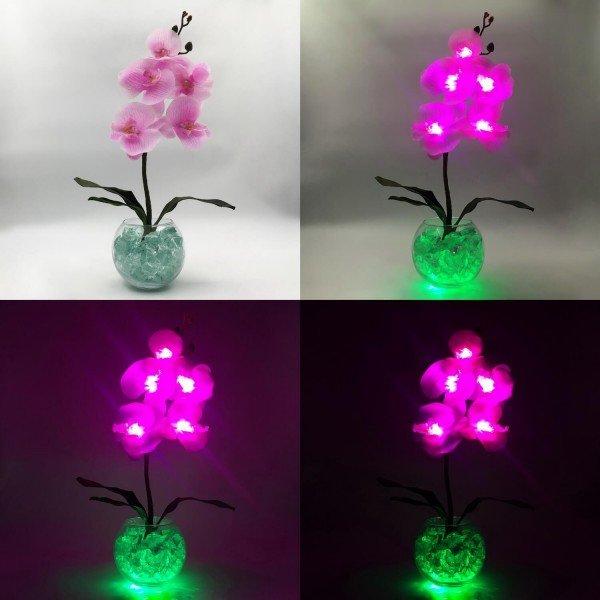 Светодиодные цветы LED Provocation, светильник-ночник, розовые орхидеи + зелёная подсветка, USB, 220V