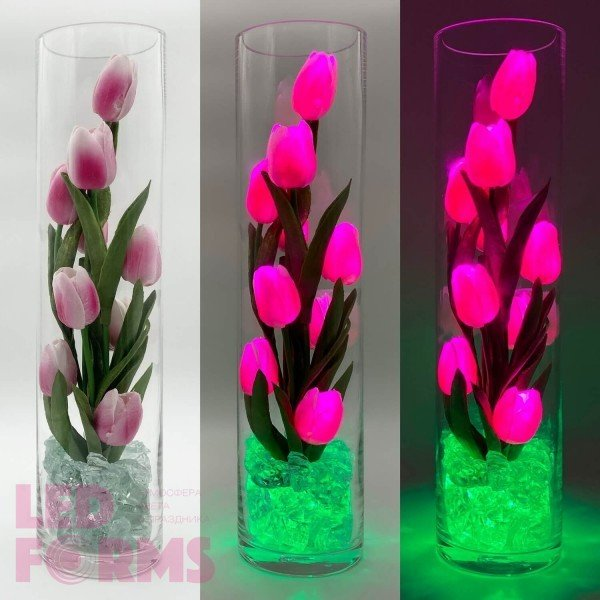 Светодиодные цветы LED Spirit, светильник-ночник, розовые тюльпаны + зелёная подсветка, USB, 220V