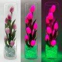 Светильник Светодиодные цветы LED Spirit, розовые тюльпаны с зелёной подсветкой вазы