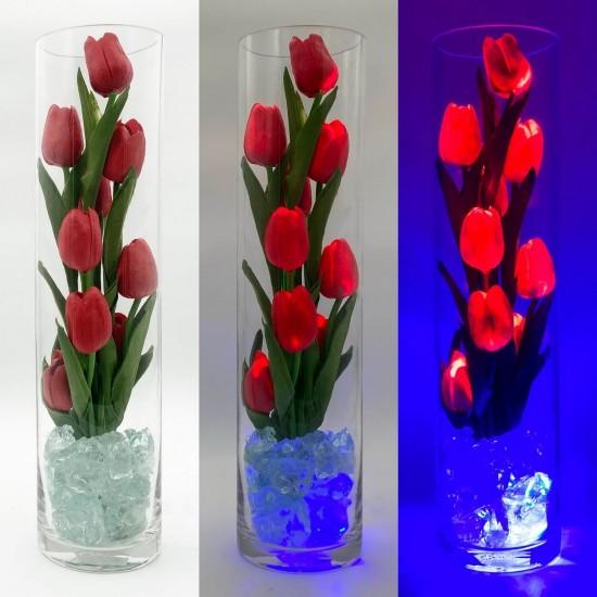 Светильник Светодиодные цветы LED SPIRIT, красные тюльпаны с синей подсветкой вазы — Купить в интернет-магазине LED Forms