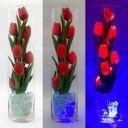 Светильник Светодиодные цветы LED Spirit, красные тюльпаны с синей подсветкой вазы