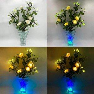Светодиодные цветы LED Dream, светильник-ночник, белые розы + сине-зелёная подсветка, USB, 220V
