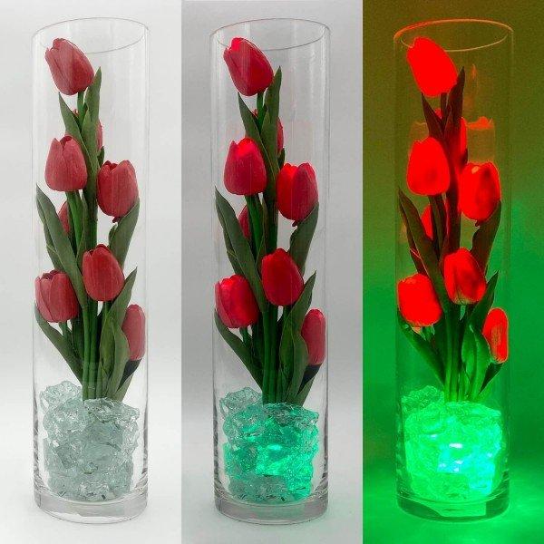 Светильник-цветы LED Spirit (красные тюльпаны, зелёная подсветка), USB
