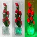 Светильник Светодиодные цветы LED Spirit, красные тюльпаны с зелёной подсветкой вазы