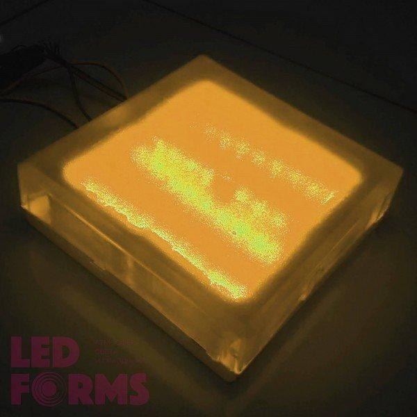 Светодиодная тротуарная плитка LED LUMBRUS 200x200x60 мм. жёлтая IP68 — Купить в интернет-магазине LED Forms