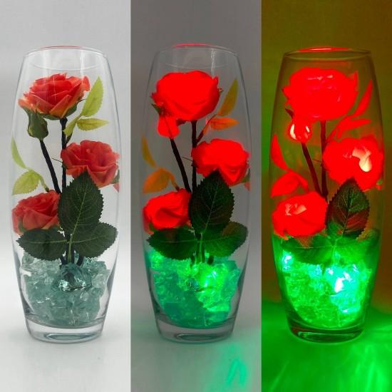 Светильник-ночник Светодиодные цветы LED Harmony, красные розы с зелёной подсветкой вазы