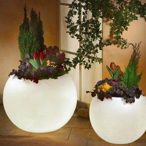 Светящееся кашпо шар для цветов LED MOONY 60 см. c белой светодиодной подсветкой IP65 220V