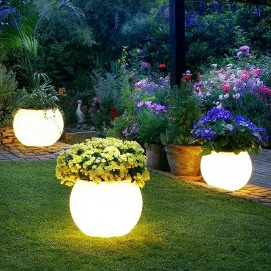 Светящееся кашпо шар для цветов LED MOONY 60 см. c разноцветной RGB подсветкой и пультом ДУ IP65 220V